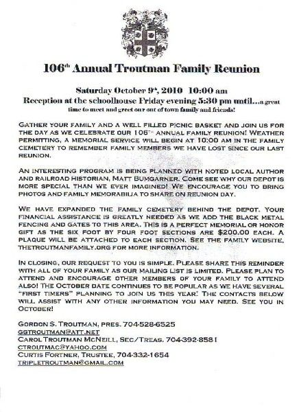 Printable Example Of Family Reunion Program | CLICK HERE To Print 2010  Troutman Reunion Letter  Free Printable Family Reunion Templates