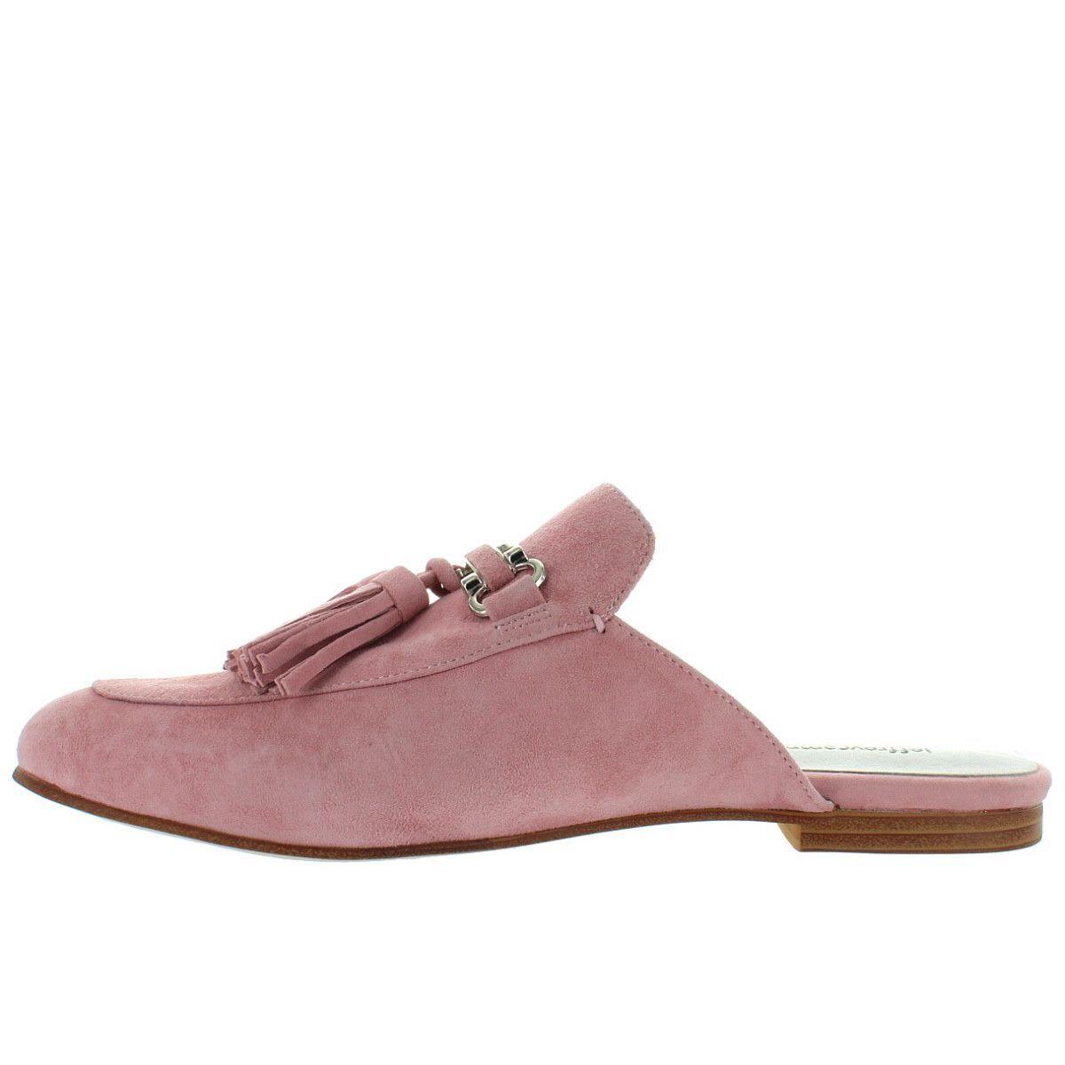 2a856f3c0fa Jeffrey Campbell Apfel - Blush Pink Suede Tassel Slide Loafer ...