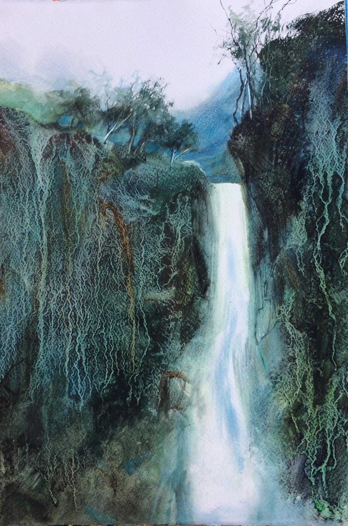 Waterfall Granulation In Watercolour Watercolor Art Landscape