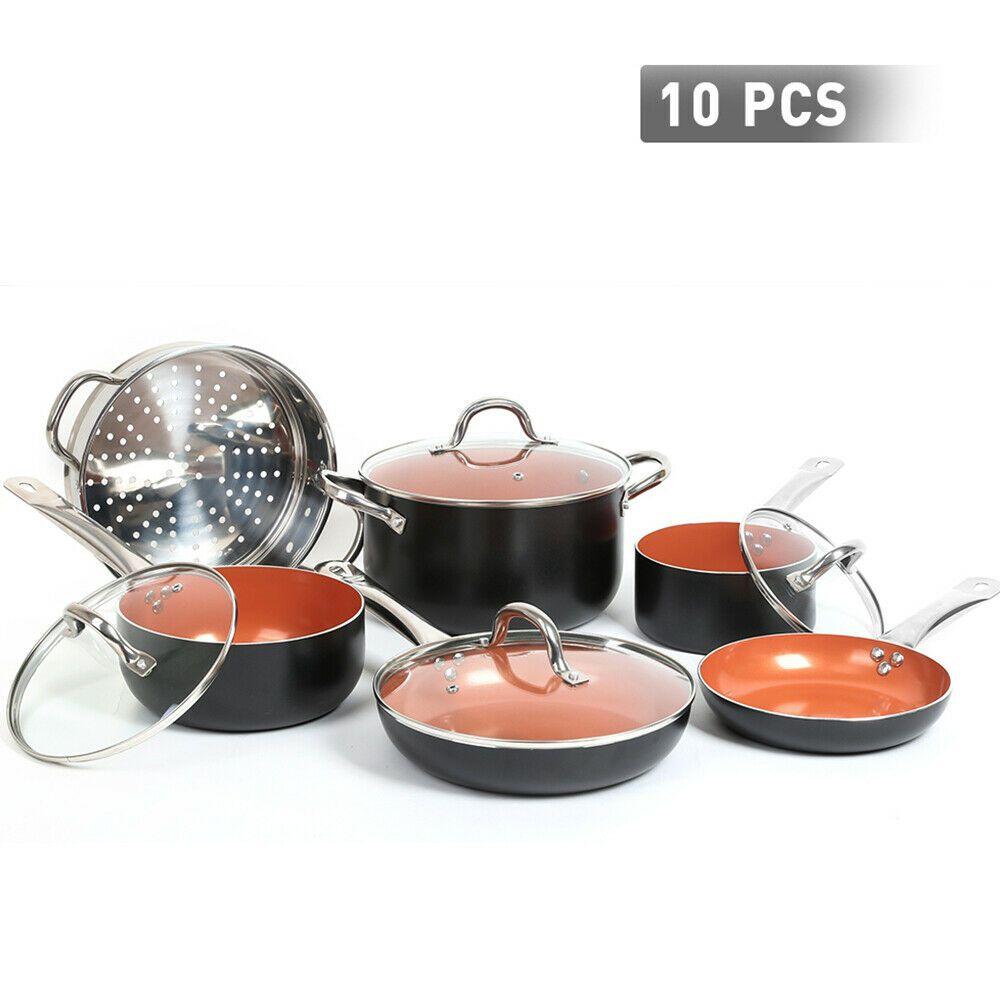 Details About Fgy 10 Pcs Cookware Copper Pan Set Nonstick Chef