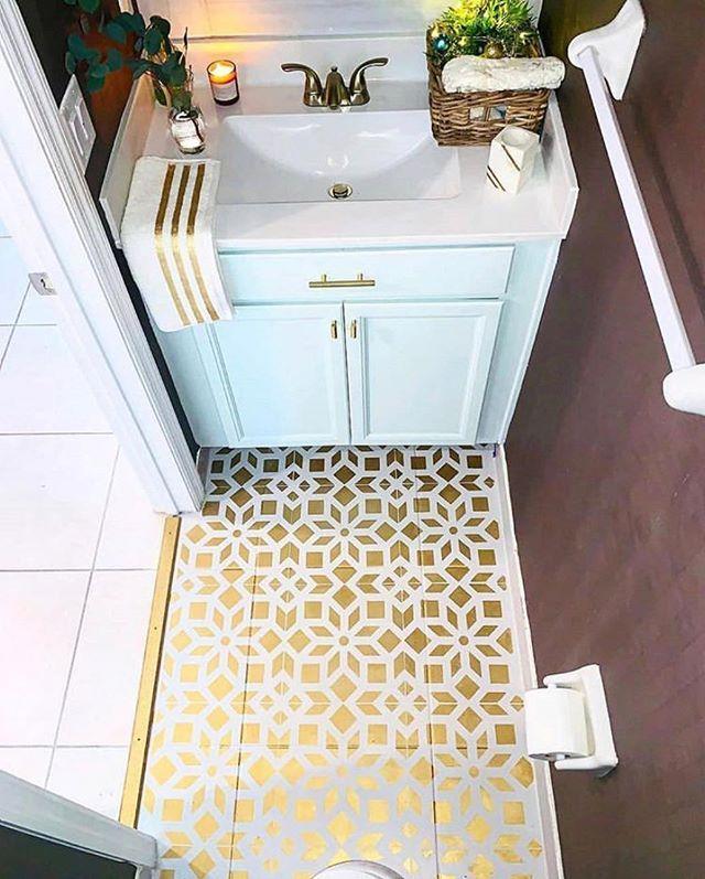 Metallic painted bathroom tile floor makeover ideas on a ...