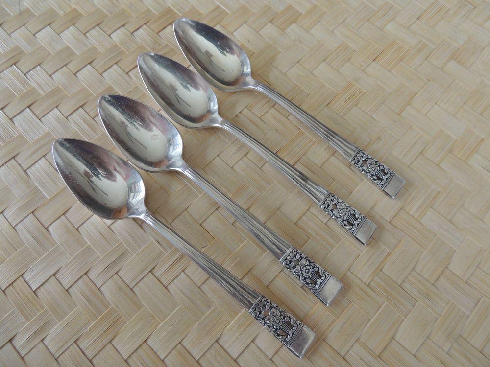 4 Teaspoons Oneida Community CORONATION Silverplate Pierced Floral ...
