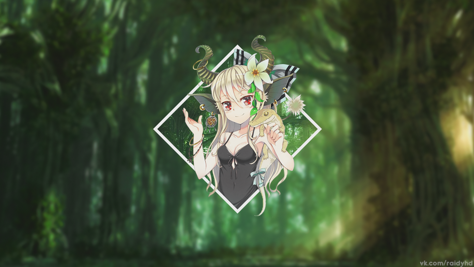 Anime X Anime Girls Anime Forest Blurred Picture In Picture
