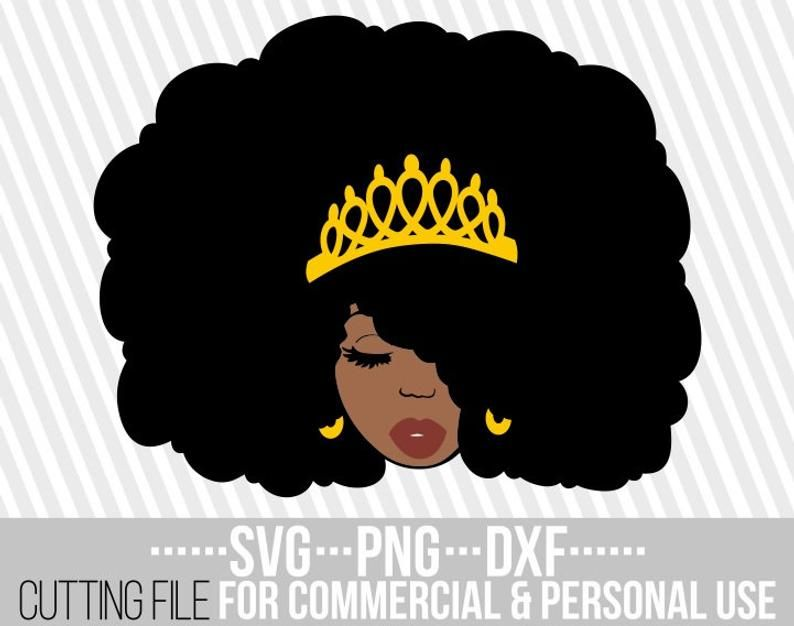 Black Woman With Crown Svg Afro Queen Svg Melanin Afro Woman Vector Black Girl Magic Svg File For Cricut Silhouette Instant Download Afro Women Black Girl Magic Afro
