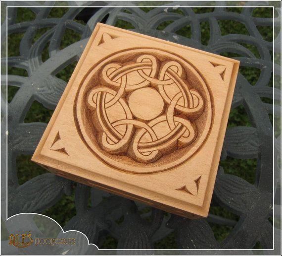 Celtic Trinket Box Hand Carved Celtic Cross By