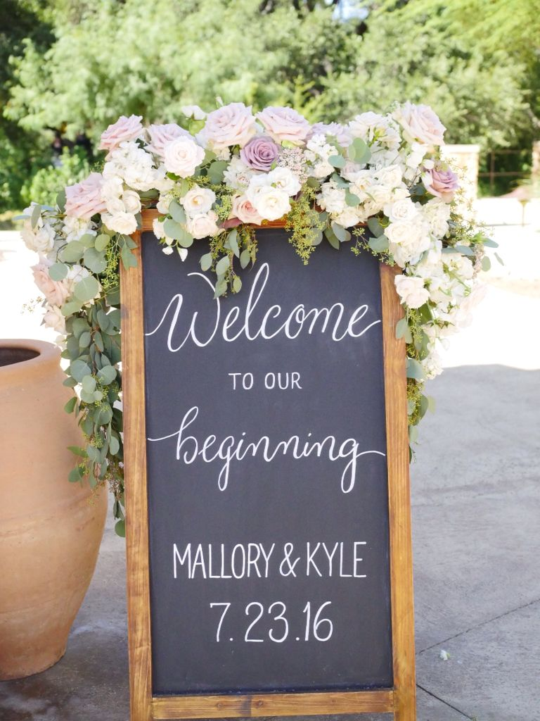 A floral swag for the welcome sign | Whim Florals ...