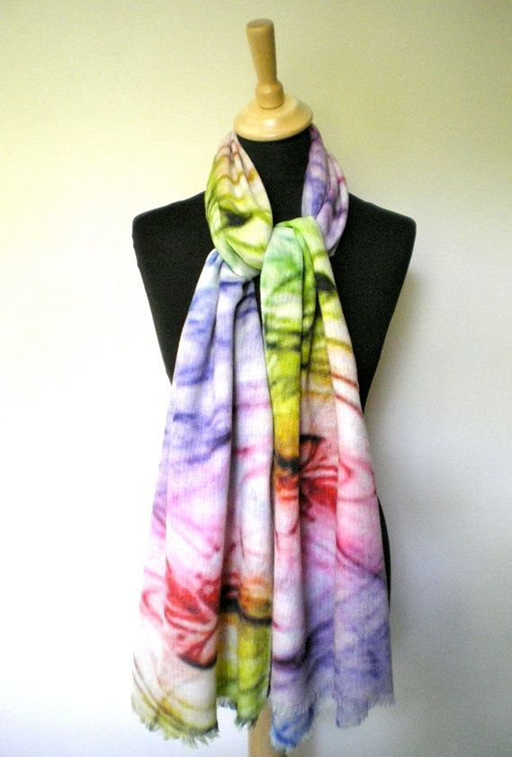 Multi Colour Marbled Rainbow Print Hand Painted Pure Merino Wool Scarf