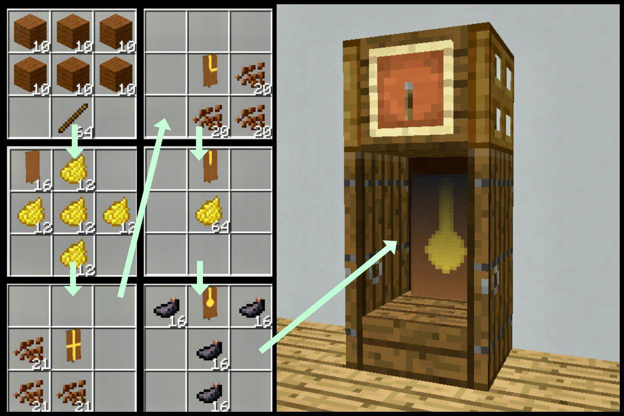 Grandfather clock design Minecraftfurniture minecraft