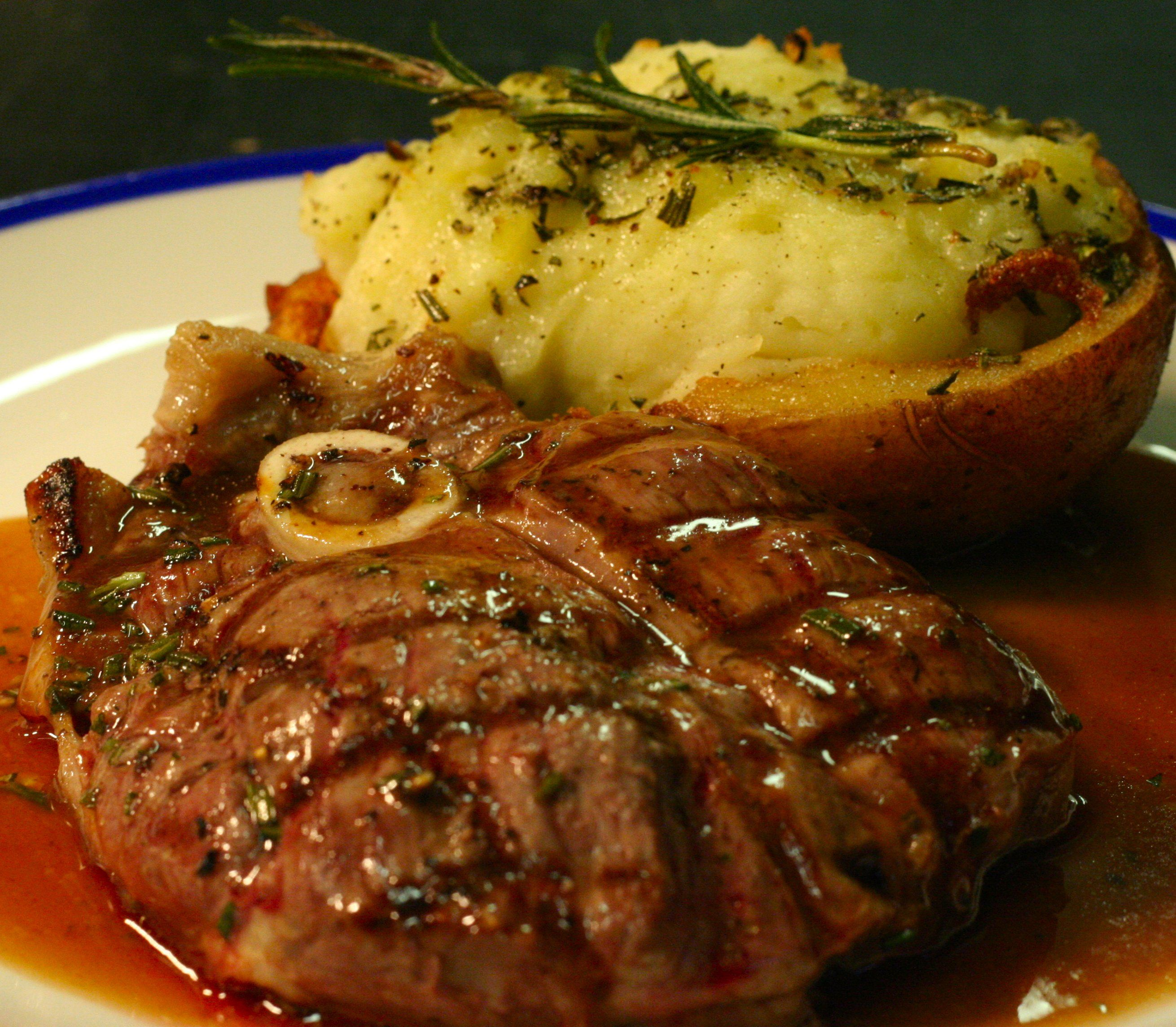 grilled lamb steak, rosemary-jacket potato