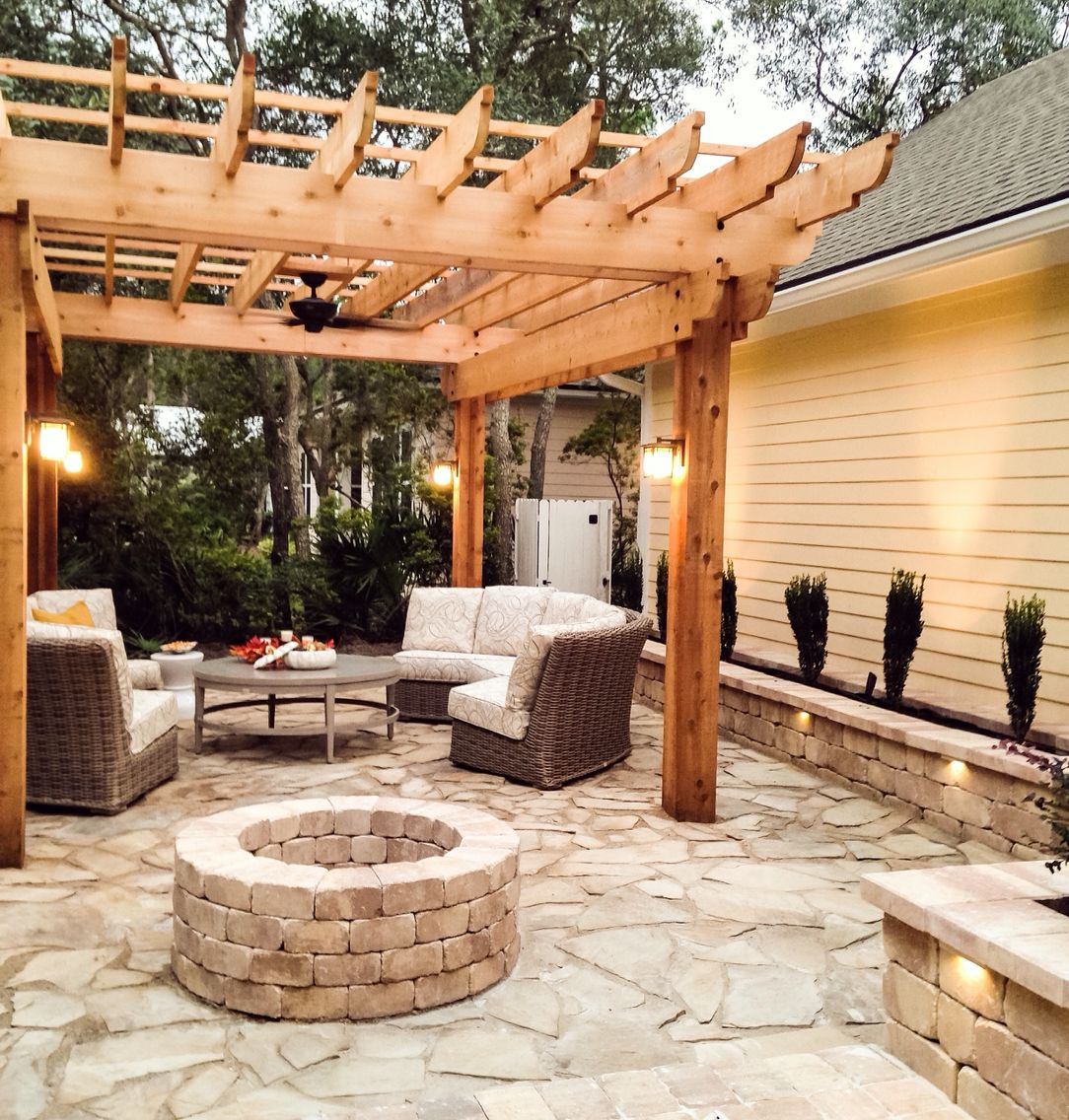 pergola pavers flagstone patio fire pit backyard lawn