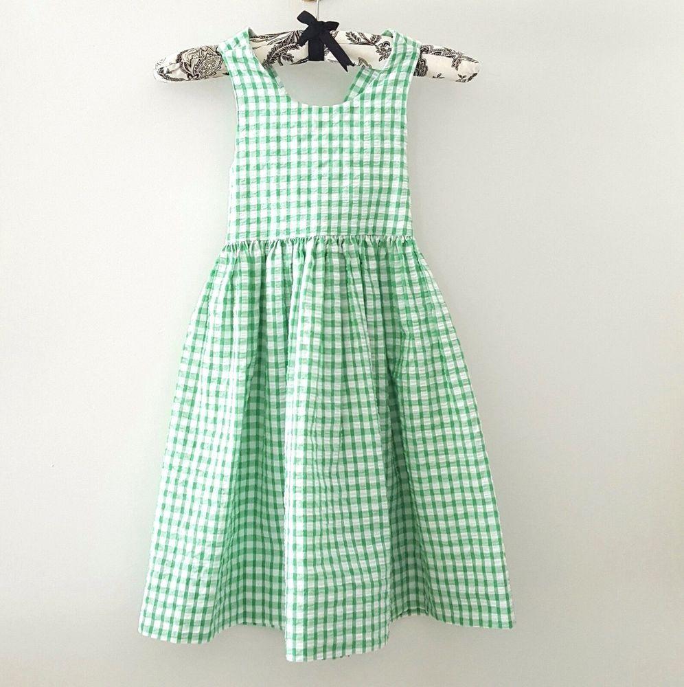 a177eee870 Kellys Kids Dress SIZE 4 Green Seersucker Gingham Suitable for Monogram   KellysKids  Sundress  DressyEveryday