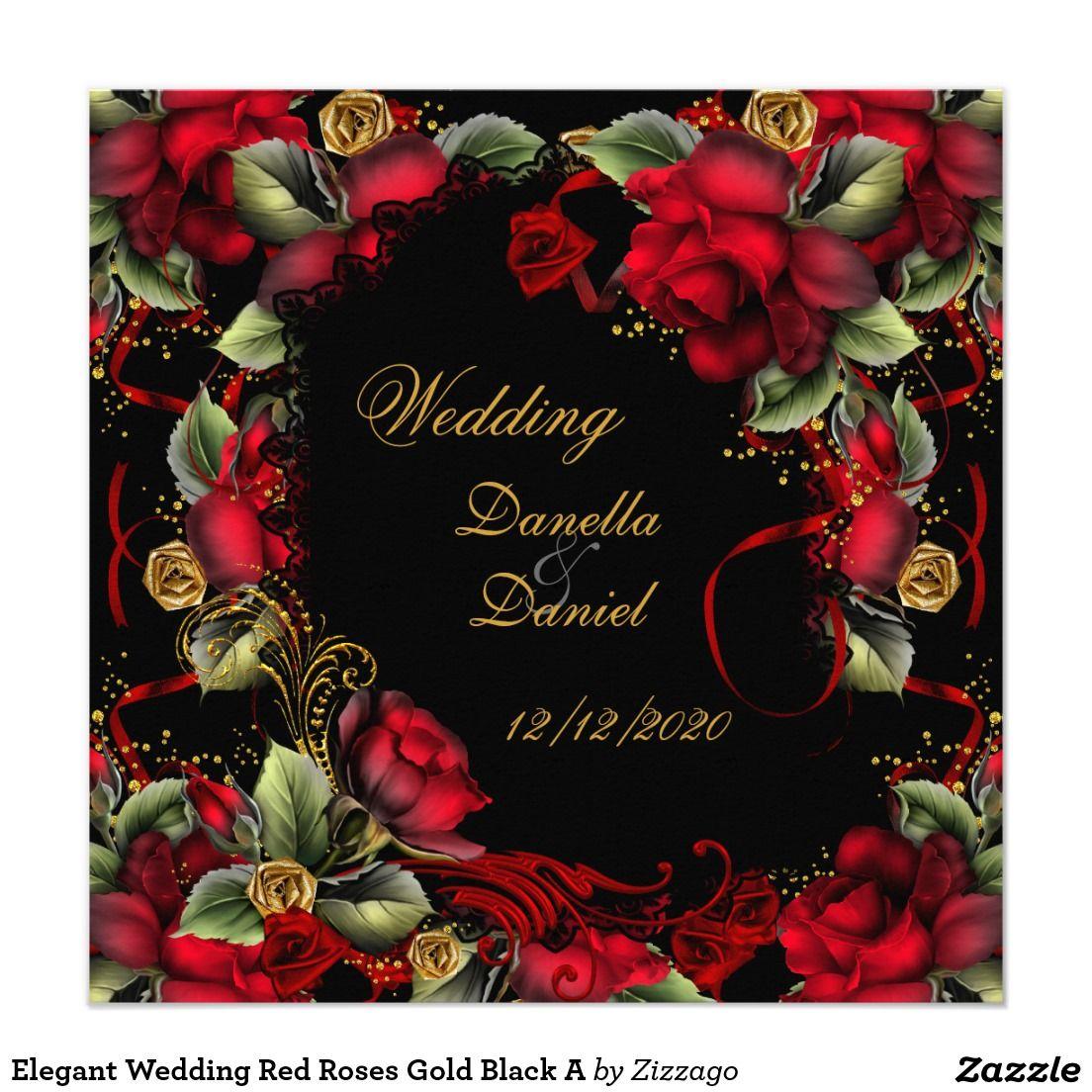 Elegant Wedding Red Roses Gold Black A Card   Elegant, Gold weddings ...