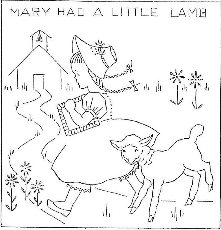 Embroidery Mary Had A Little Lamb Quilt Block