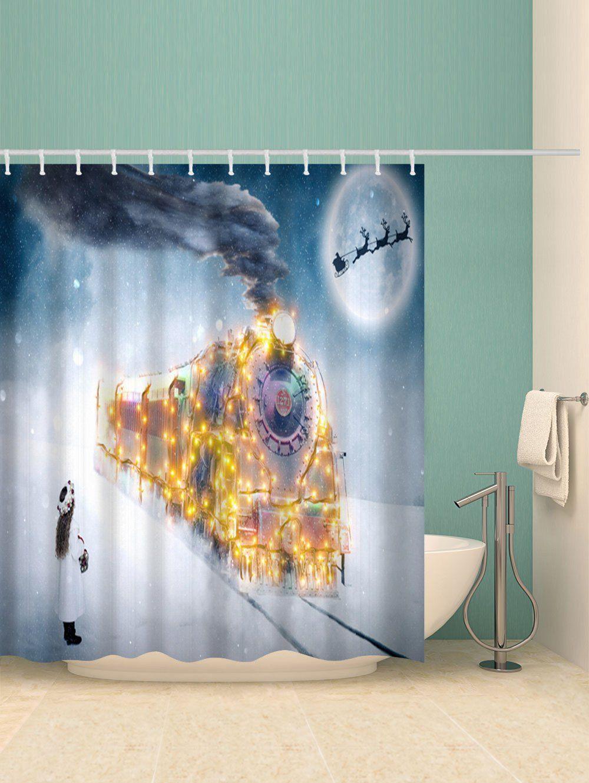 Christmas Night Train Print Waterproof Shower Curtain Ad Ad