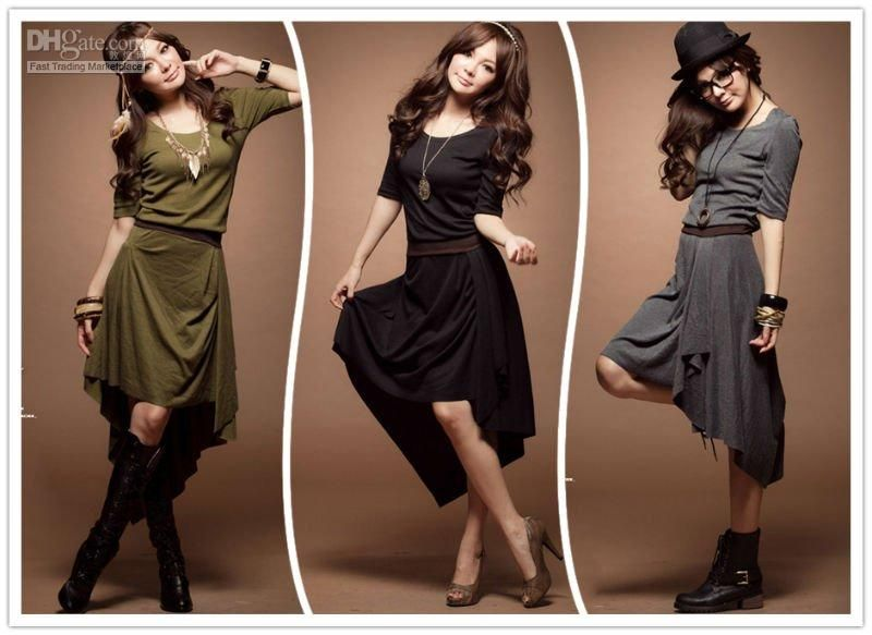 Wholesale FASHION U-NECK SHORT SLEEVE DRESS ASYMMETRICAL LAP 2136, Free shipping, $13.94/Piece   DHgate