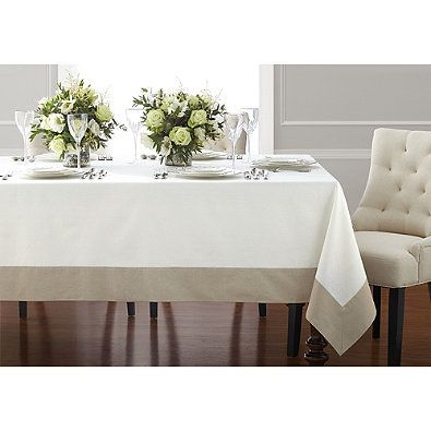 Wamsutta® Bordered Linen 70 Inch Square Table Tablecloth In Grey