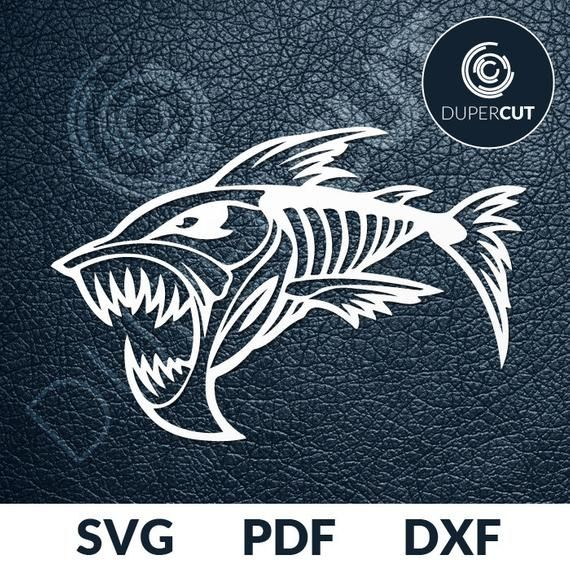 Two designs SVG PDF DXF file Paper Cutting Template angry fish