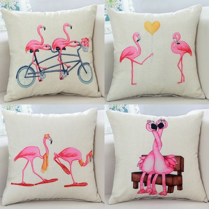 Cute Pink Flamingo Home Decor Pillow Covers