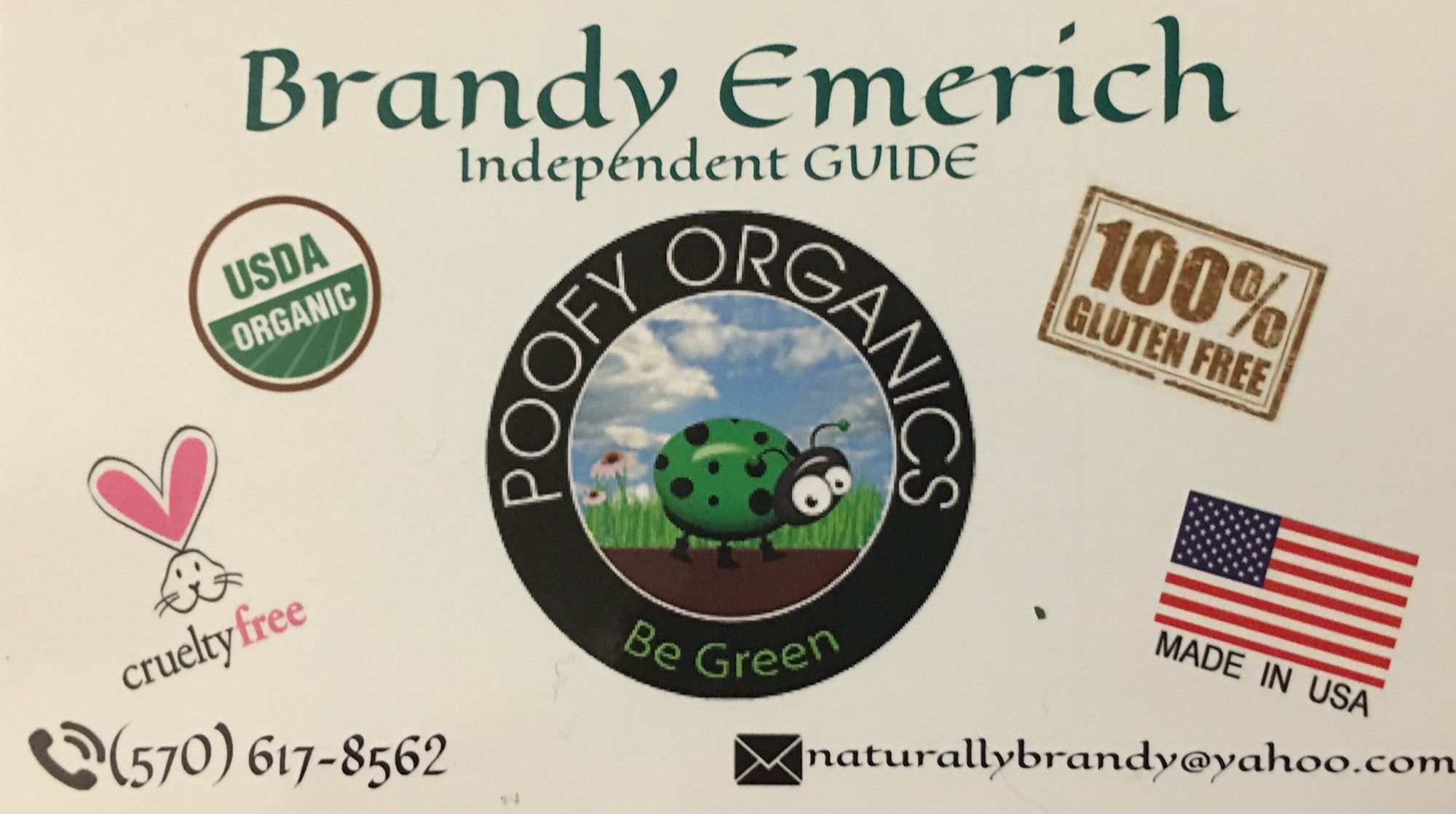 Poofy Organics Business Card Naturallybrandy Poofyorganics Com