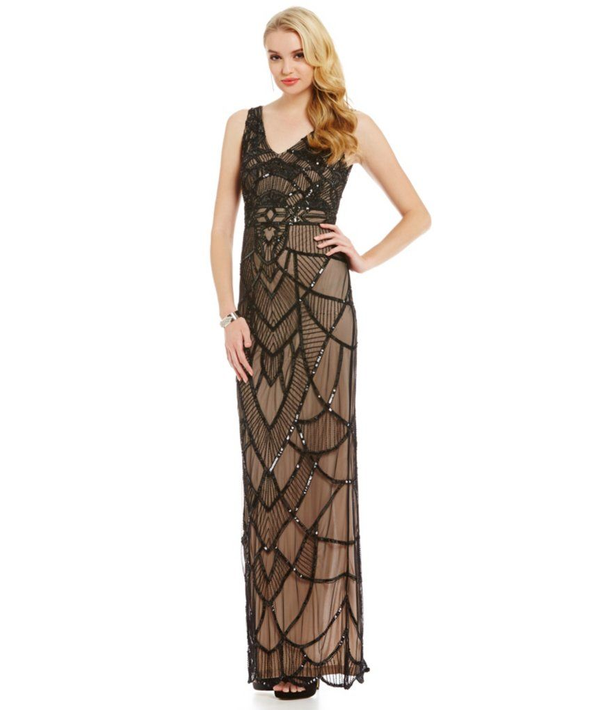 Js collections sleeveless beaded vneck gown prom pinterest