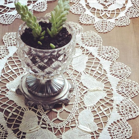 Antique Doilies Set Crochet Doilies Lace Doilies Boho Bohemian Home