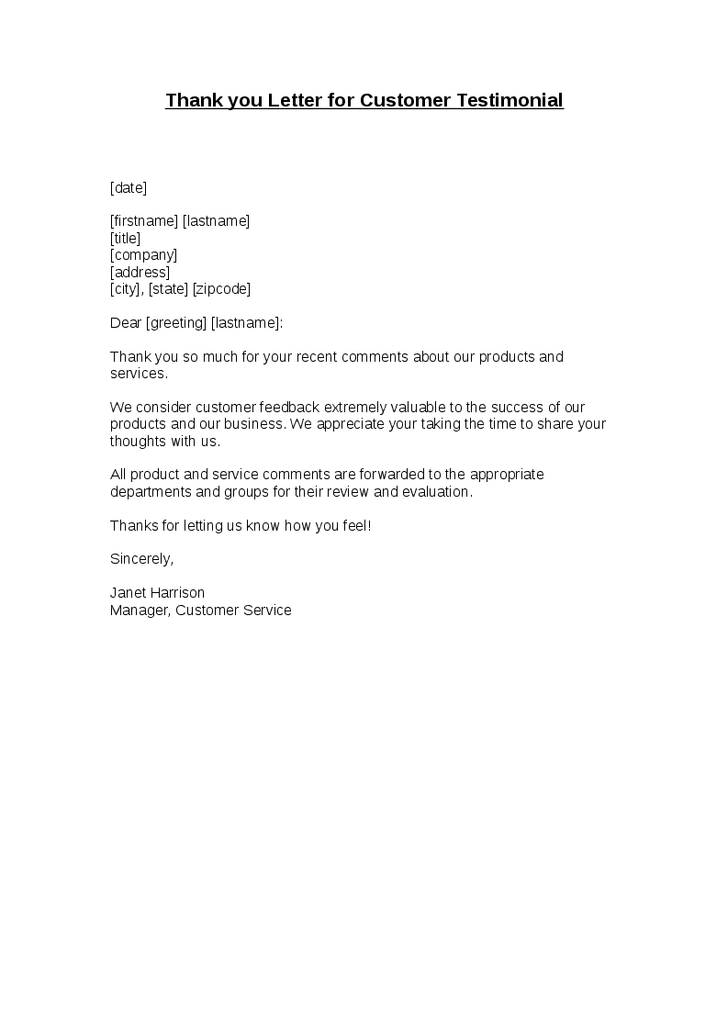 Thank You Letter For Customer Testimonial Client Template Sample