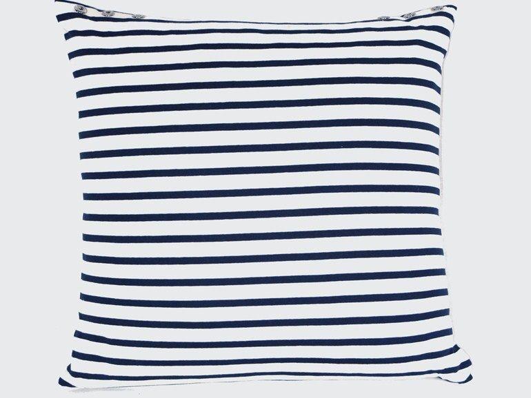 Cuscini Bianchi E Blu.Square Cotton Cushion Mariniere By Lelievre