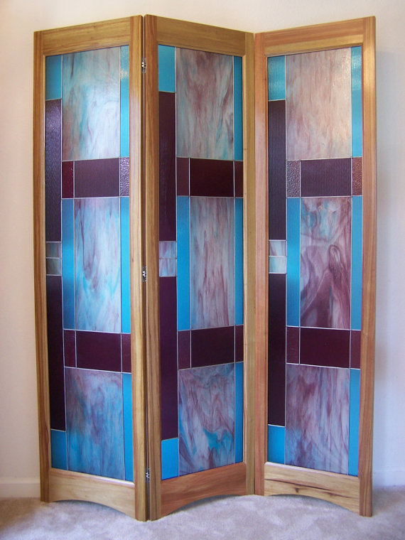 Stained Gl Room Divider 3 Panel Screen Bordeaux Model By Adair Design