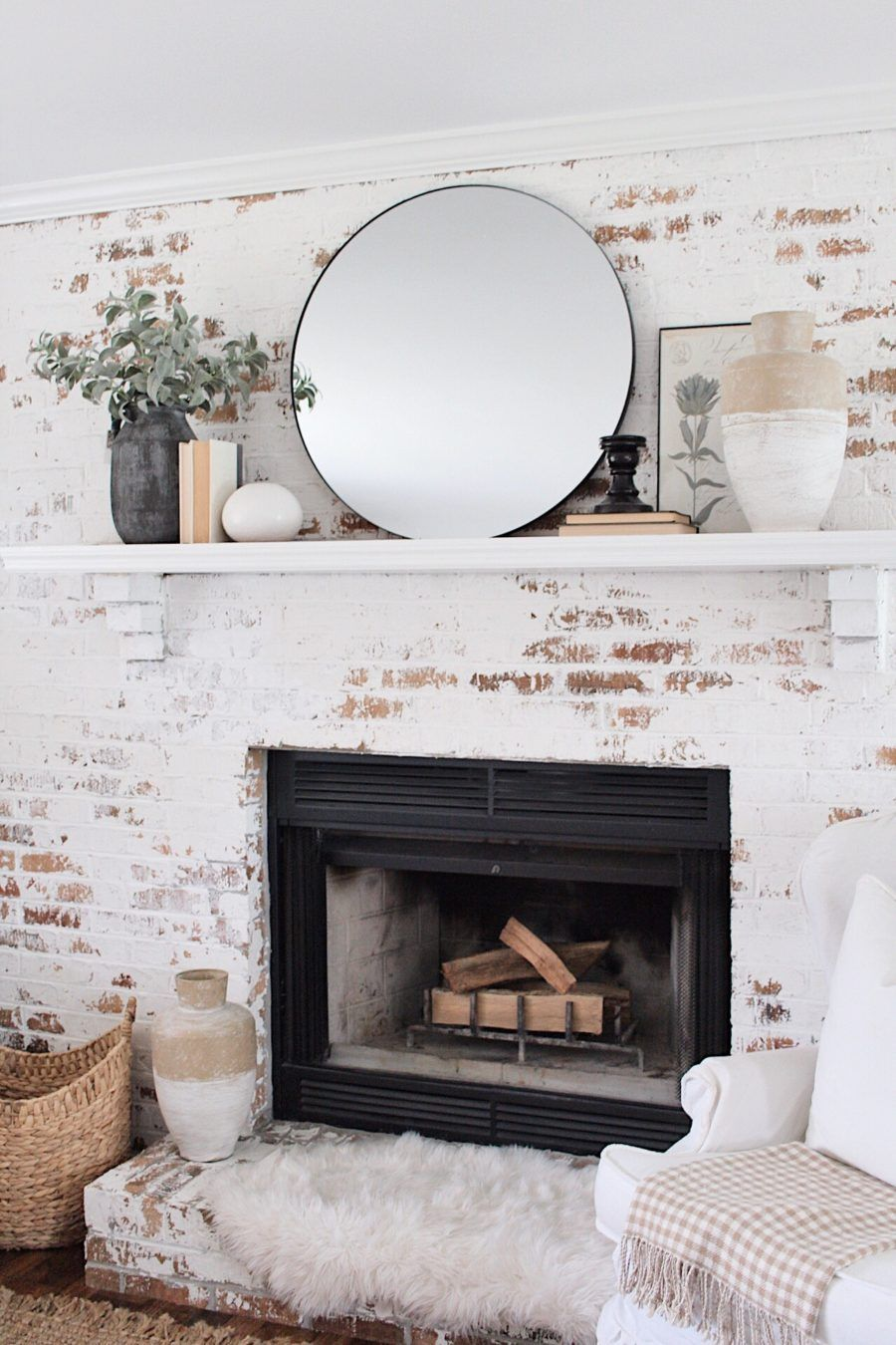 White Brick Fireplace Mantle Decor Ideas With Round Black Mirror Musings By Madison Style In 2020 Fireplace Mantle Decor Brick Living Room Brick Fireplace Mantles