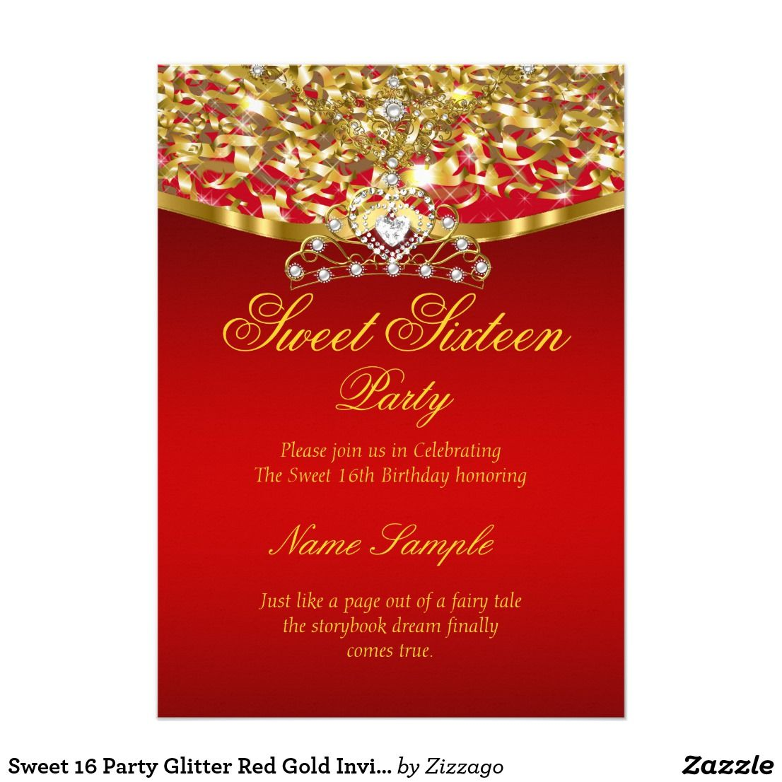 Sweet 16 Party Glitter Red Gold Invitation Zazzle