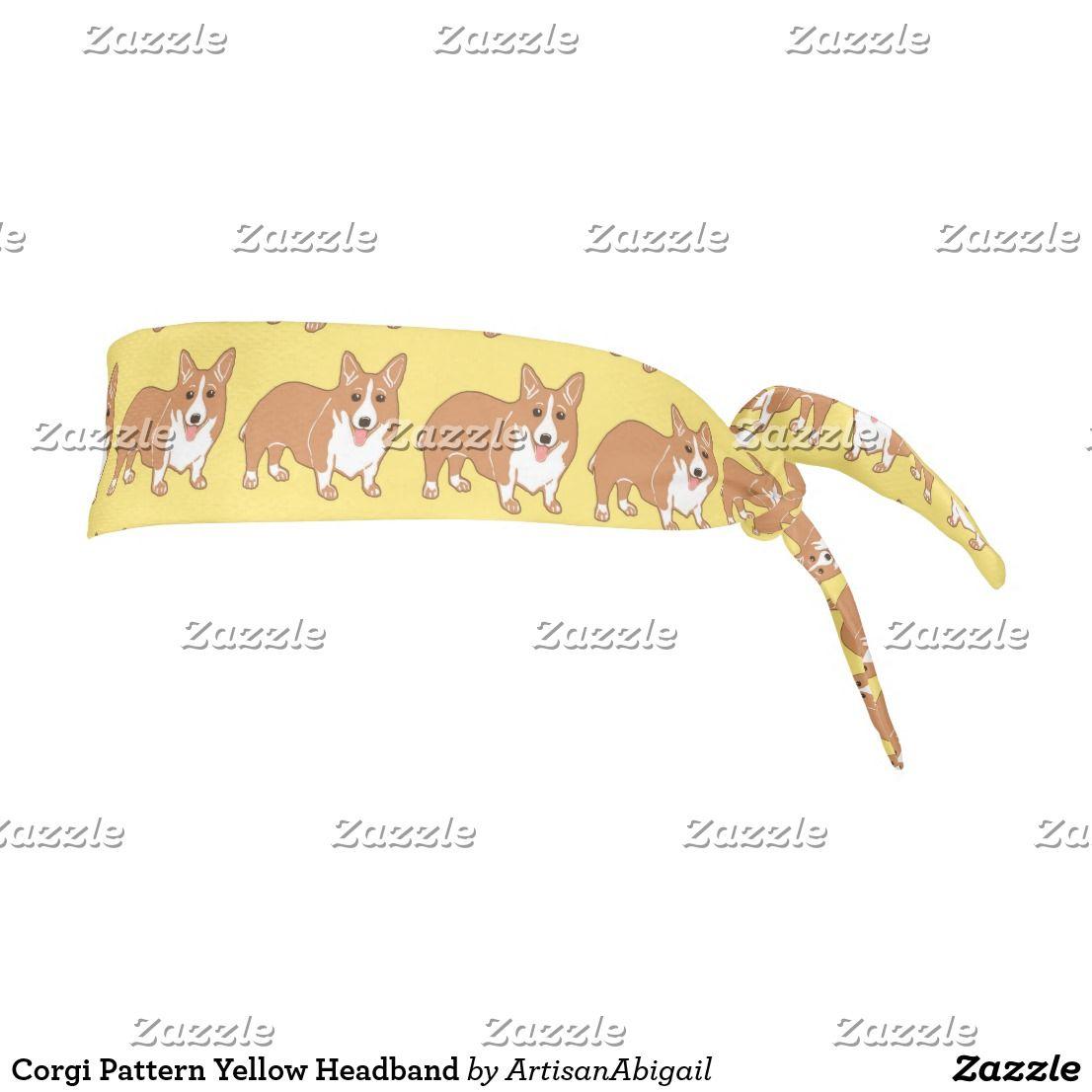 Corgi Pattern Yellow Tie Headband; ArtisanAbigail at Zazzle