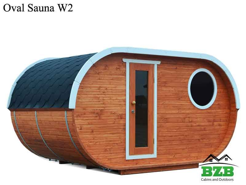 W2 Oval Shaped Sauna Kit Suitable For 4 5 Persons Bzb Cabins Sauna Kits Sauna Kit Barrel Sauna