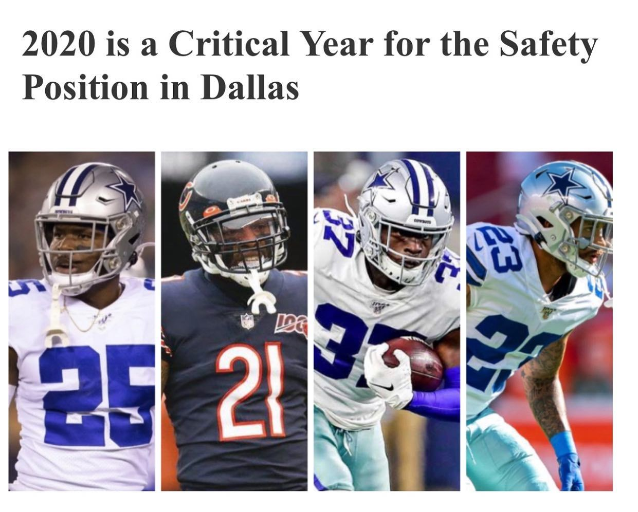 The Safety Position Must Show Up!!! The Dallas Cowboys
