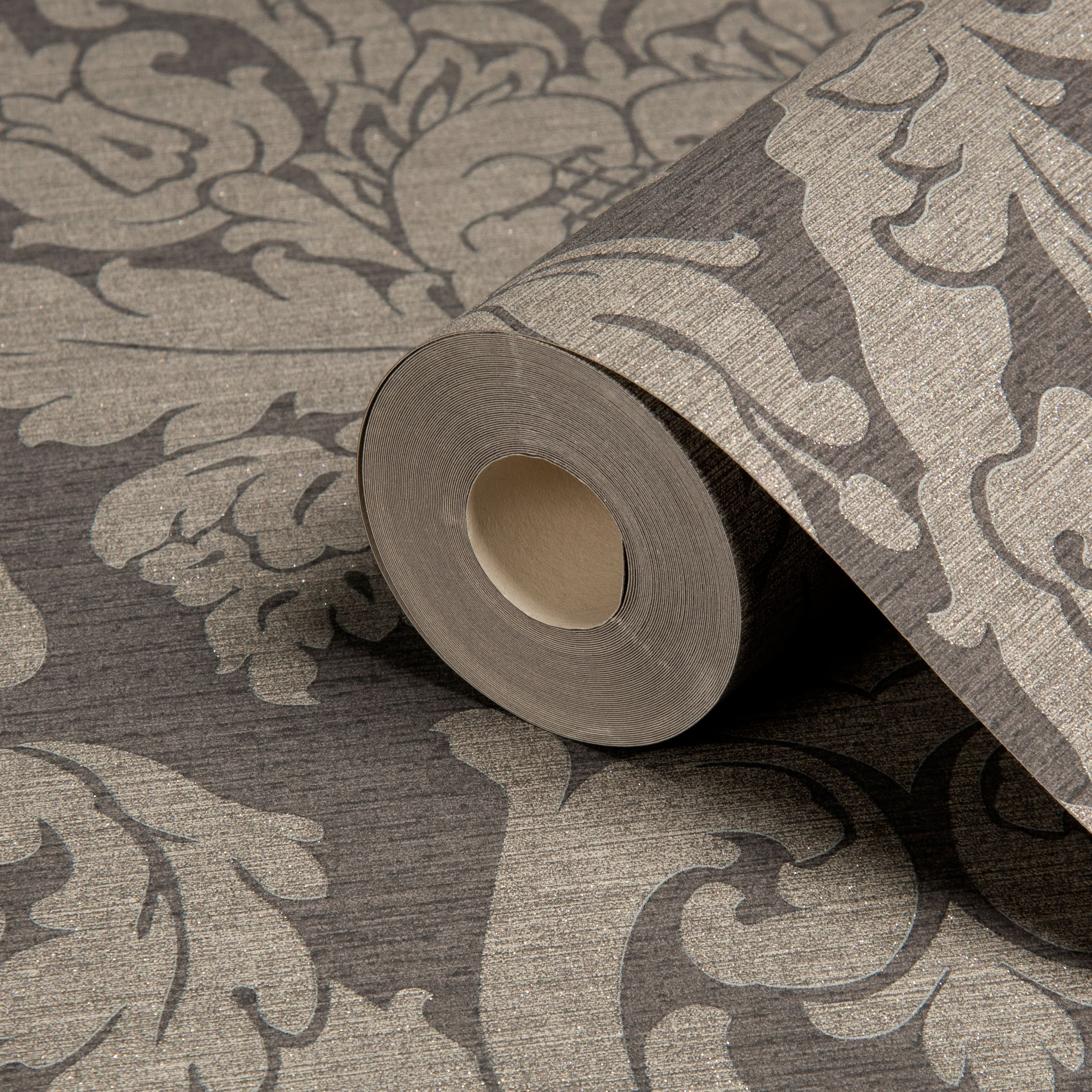Gold Kensington Charcoal Damask Metallic Wallpaper