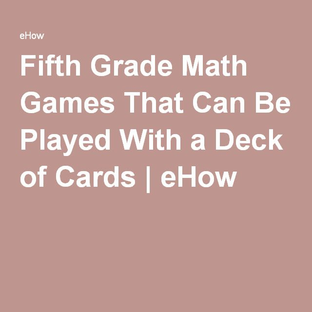 Fifth Grade Math Games That Can Be Played With a Deck of Cards | eHow