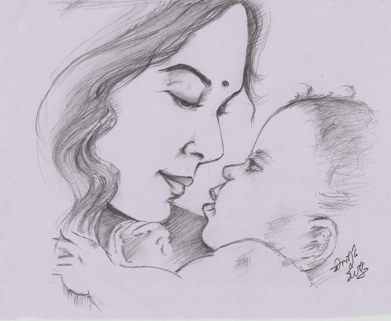 My Pencil Drawing Of Indian Mother Art Drawings Sketches