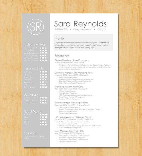 resume template with photo professional modern cv word mac or pc free cover letter teacher grey instant download the sophia free cover letter