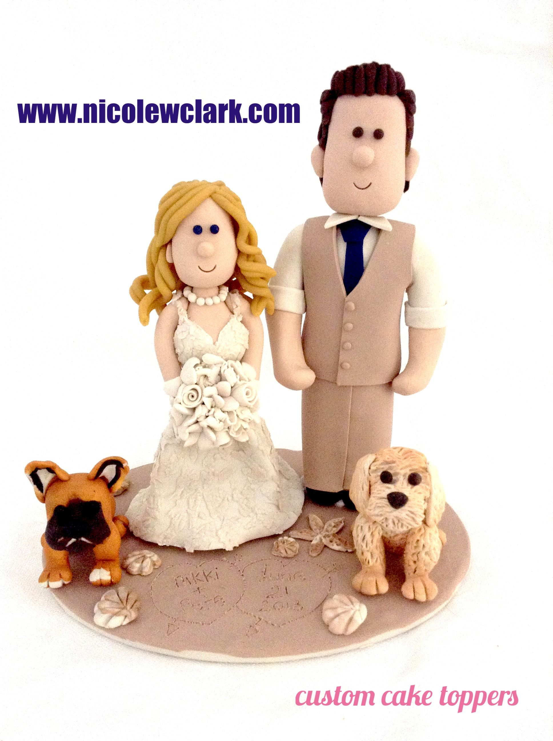 Beach wedding cake topper with dogs wedding cake topper custom