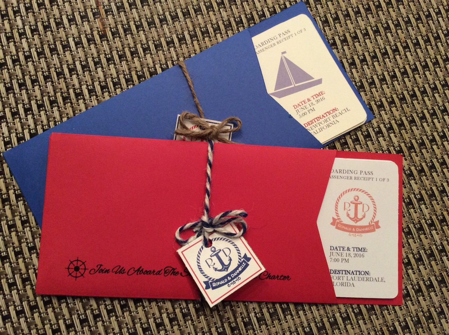 Wedding Boarding Pass Invite : 4.5 Piece Nautical Theme With ...