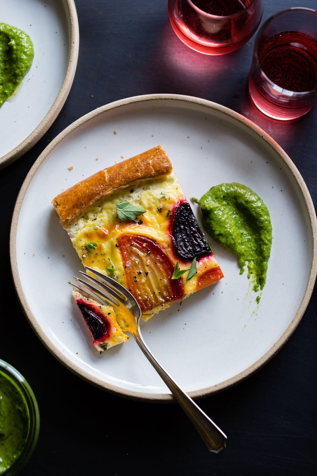 Ricotta Beet Tart with Beet Green Pesto | Recipes | Pinterest
