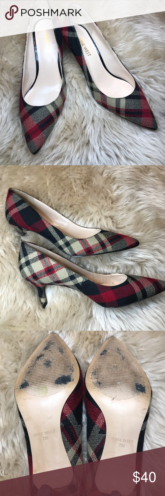 Nine West Plaid Kitten Heel Sz7 Beautiful Nine West Kitten Heels Adorable With Jeans These Shoes Always Receive A Lot Of Shoes Women Heels Kitten Heels Heels