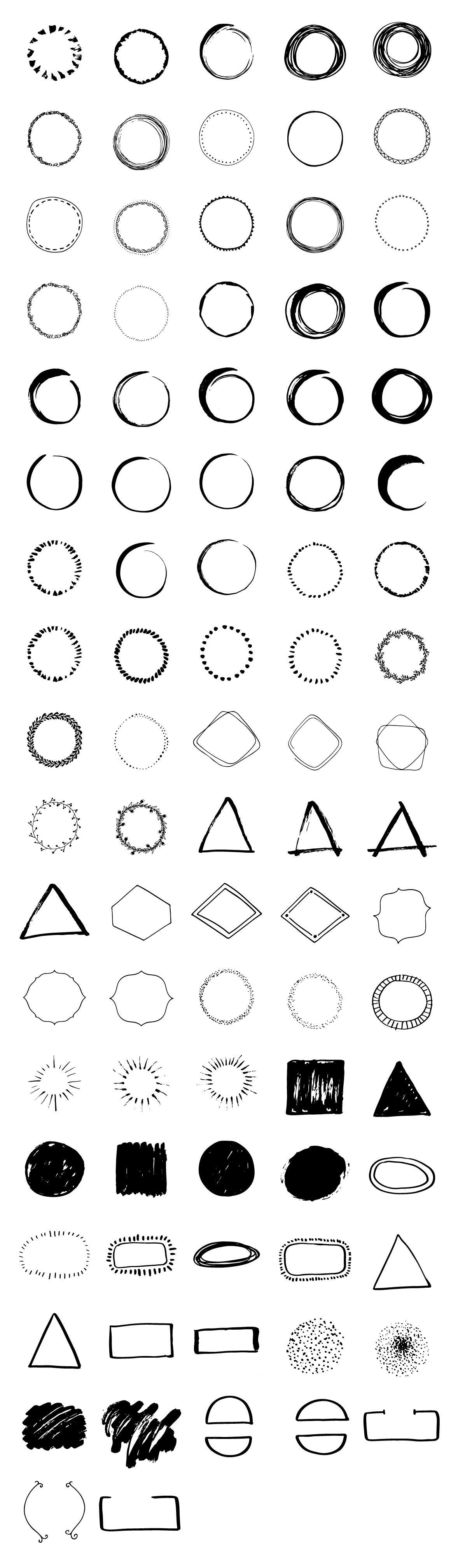 Handdrawn Logo Creator Bundle Circle Triangles Shape Badge Download Png And Vector Circle Logo Design How To Draw Hands Hand Drawn Logo