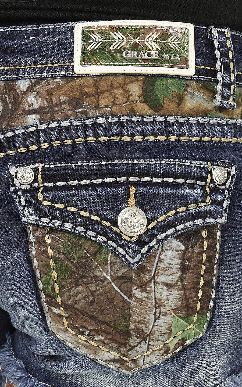 420e13860fe Grace in LA Women's Medium Wash with Camo Pockets Button Down Pocket Shorts  | Cavender's