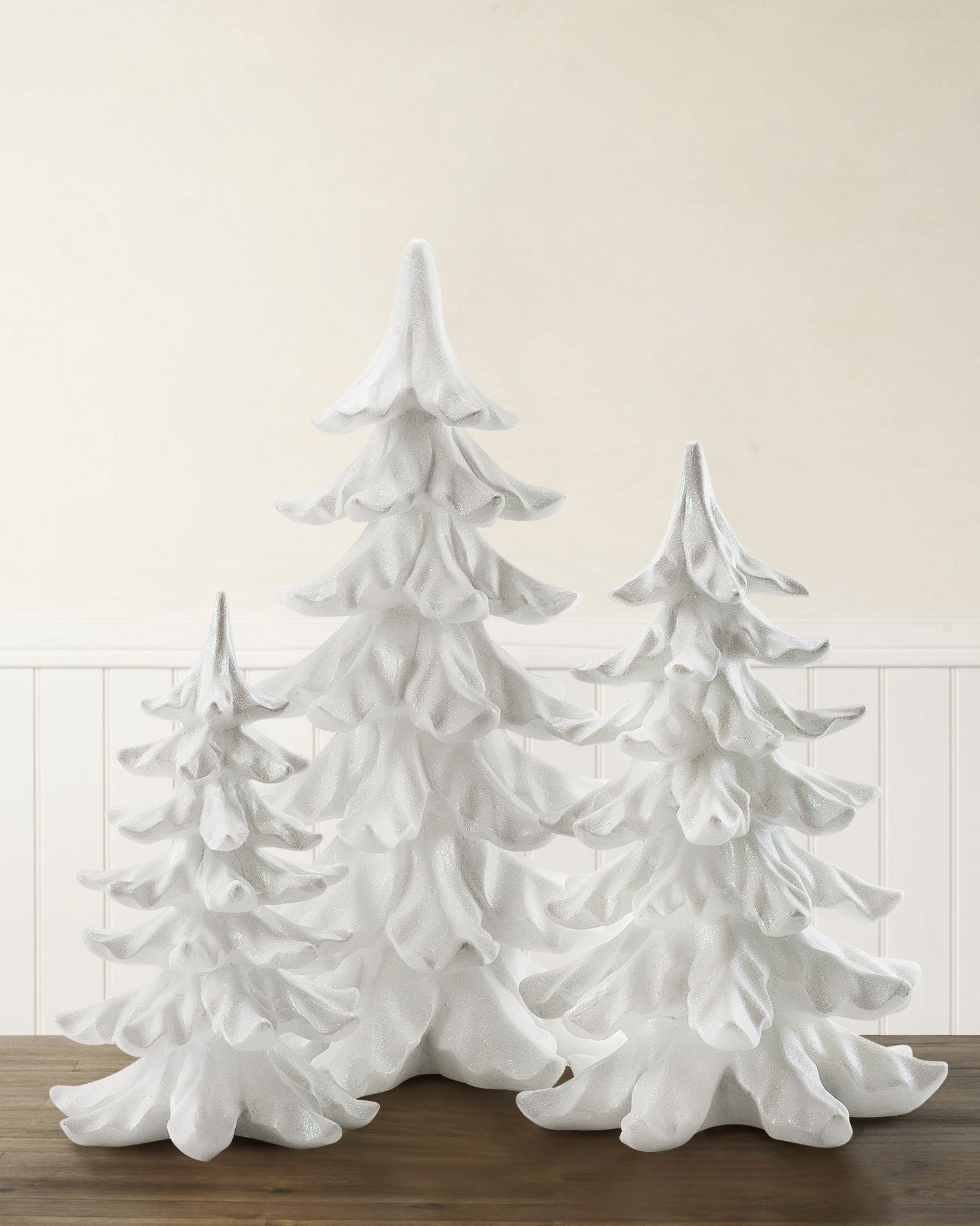 Showcasing a snowy white finish dusted with white glitter the White