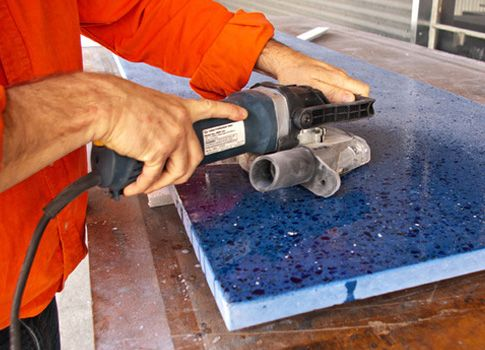 Polishing Recycled Glass Concrete Countertop