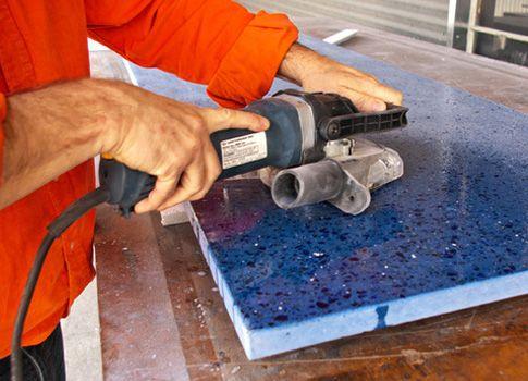 Polishing Recycled Glass Concrete Countertop