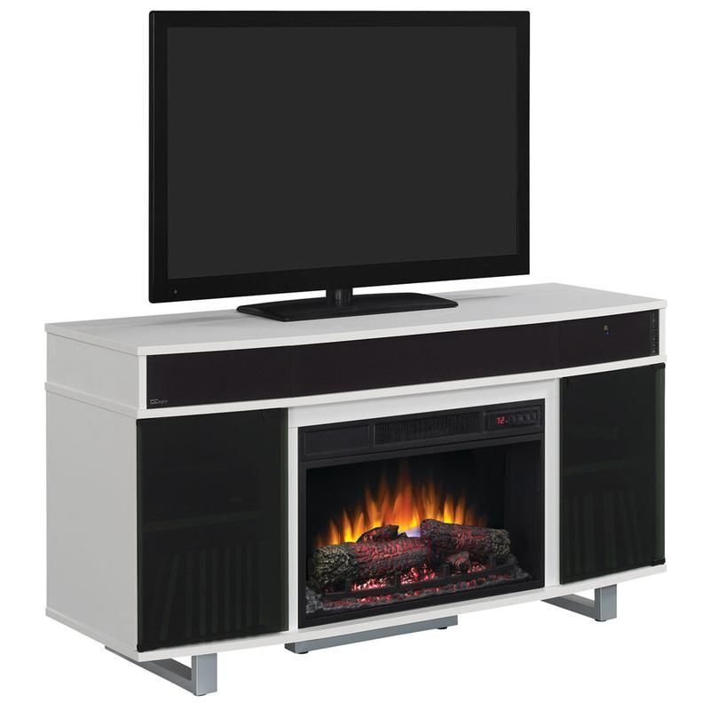 enterprise 56 tv cart with log fireplace soundbar more