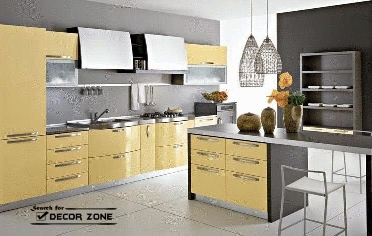 Pale Yellow Kitchen Decor In Combination With Gray Yellow
