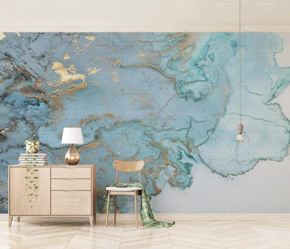 3d Abstract Blue Gold Ink Smudge Wallpaperremovable Self Etsy Custom Photo Wallpaper Wall Murals Mural Wallpaper