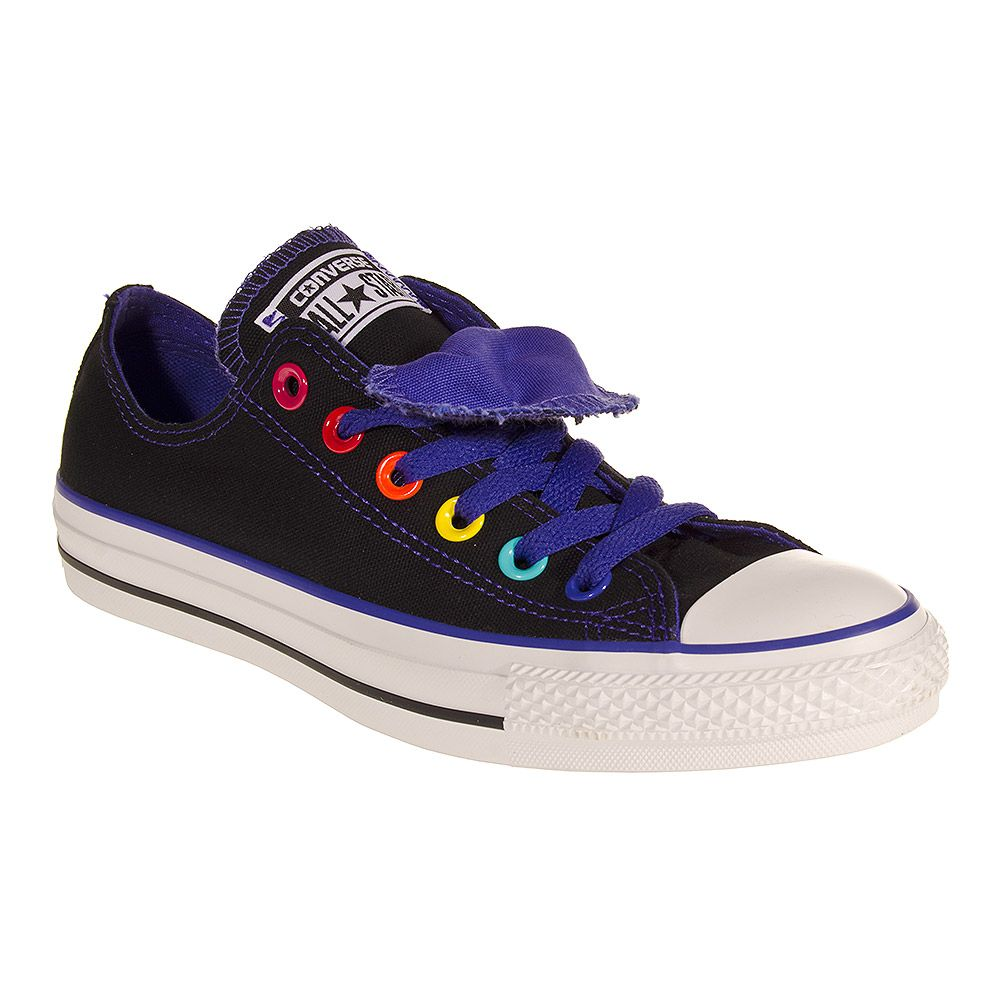 ed7e66104e10f4 Converse Double Tongue Shoes (Black Purple)